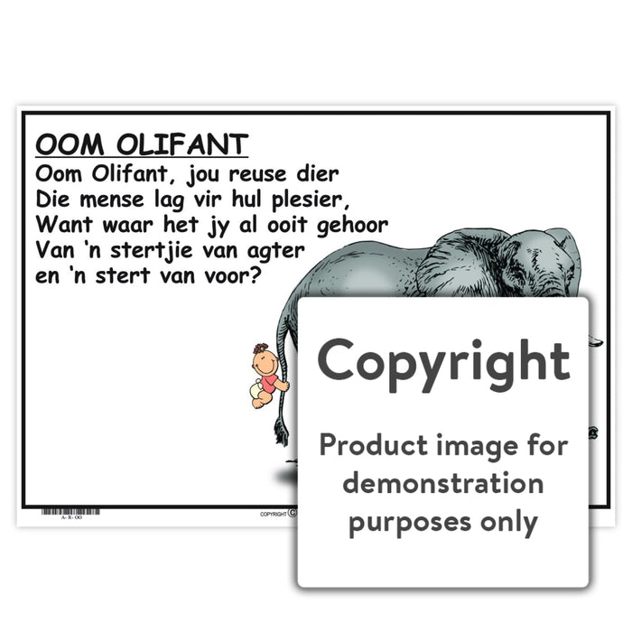Afrikaanse Rympies: Oom Olifant Wall Charts And Posters