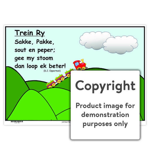 Afrikaanse Rympies: Trein Ry Wall Charts And Posters