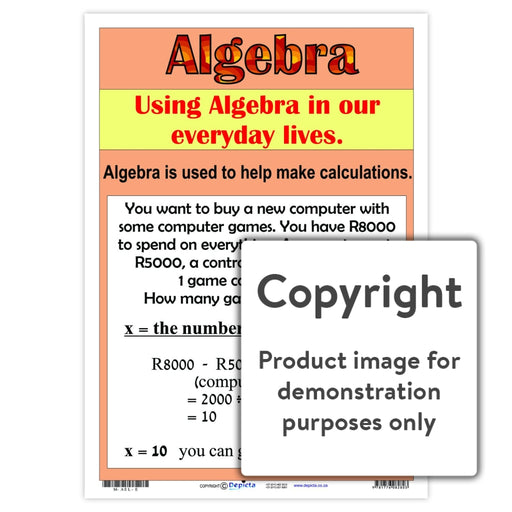 Algebra ( English ) Wall Charts And Posters