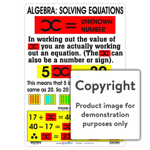 Algebra: Solving Equations Wall Charts And Posters