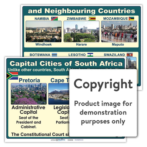 Capital Cities Of South Africa And Neighbouring Countries Wall Charts Posters