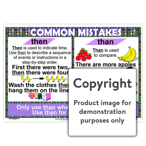 Common Mistakes - Then / Than Wall Charts And Posters