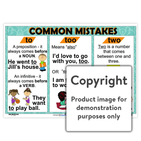 Common Mistakes - To / Too Two Wall Charts And Posters