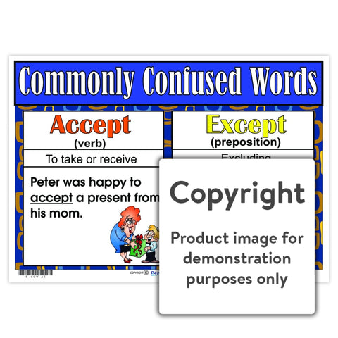 Commonly Confused Words - Accept/except Wall Charts And Posters