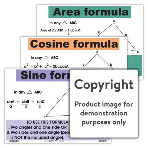 Cosine Formula Sine Area Wall Charts And Posters