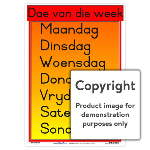 Dae Van Die Week Wall Charts And Posters