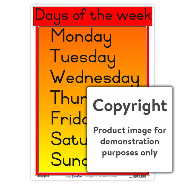 Days Of The Week Wall Charts And Posters