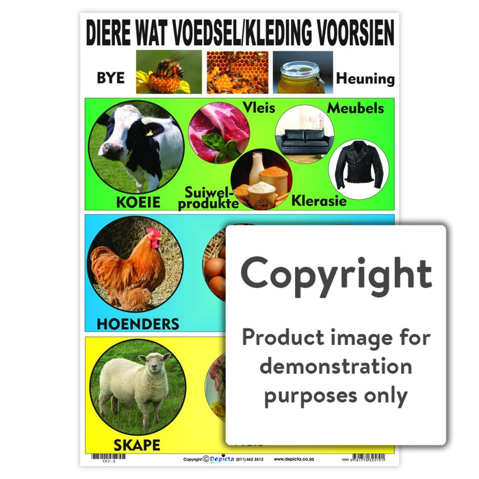 Diere Wat Voedsel / Kleding Voorsien Wall Charts And Posters