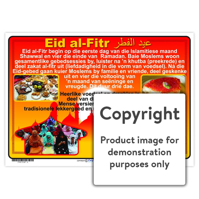 Eid Al-Fitr ( Afrikaans ) Wall Charts And Posters