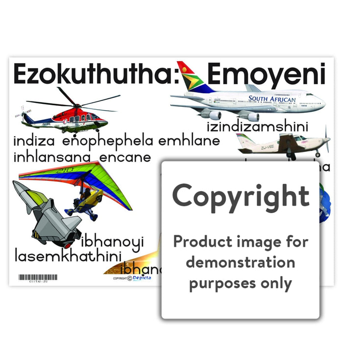 Ezokuthutha: Emoyeni (Air Transport) Wall Charts And Posters
