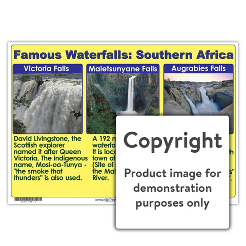 Famous Waterfalls: Southern Africa Wall Charts And Posters