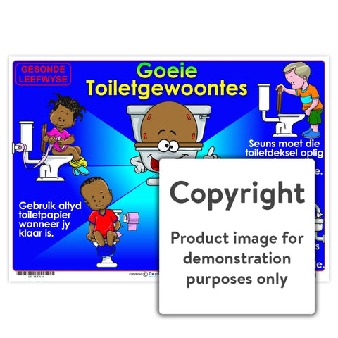 Gesonde Leefwyse: Goeie Toiletgewoontes Wall Charts And Posters