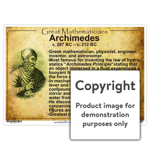 Great Mathematicians: Archimedes Wall Charts And Posters