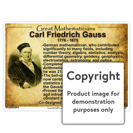 Great Mathematicians: Carl Friedrich Gauss Wall Charts And Posters