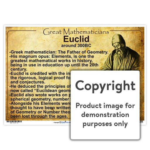 Great Mathematicians: Euclid Wall Charts And Posters
