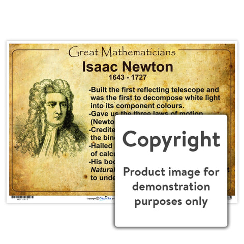 Great Mathematicians: Isaac Newton Wall Charts And Posters