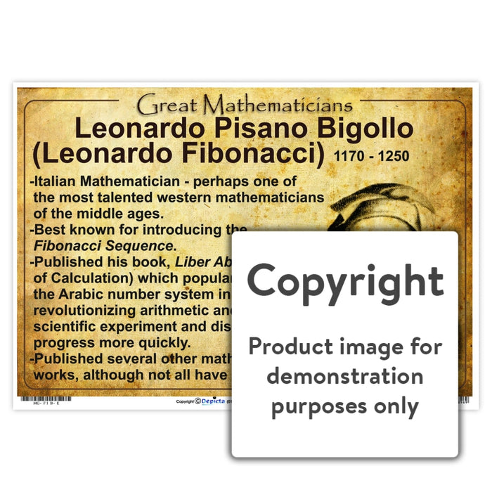 Great Mathematicians: Leonardo Pisano Bigollo (Leonardo Fibonacci) Wall Charts And Posters