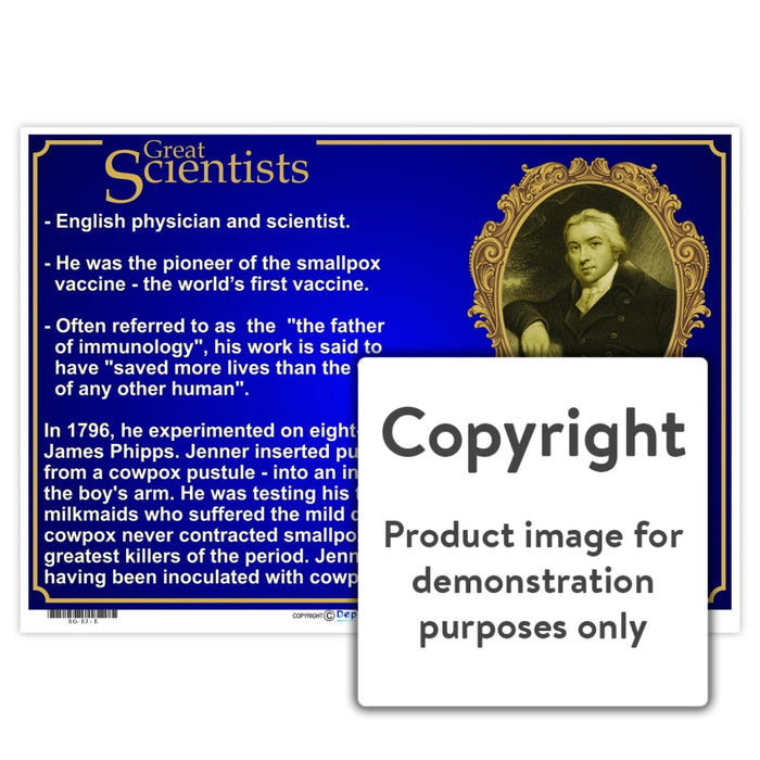 Great Scientists: Edward Jenner Wall Charts And Posters