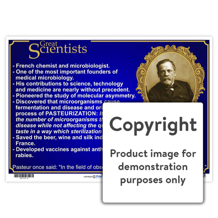 Great Scientists: Louis Pasteur Wall Charts And Posters
