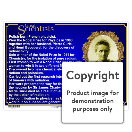 Great Scientists: Marie Curie Wall Charts And Posters