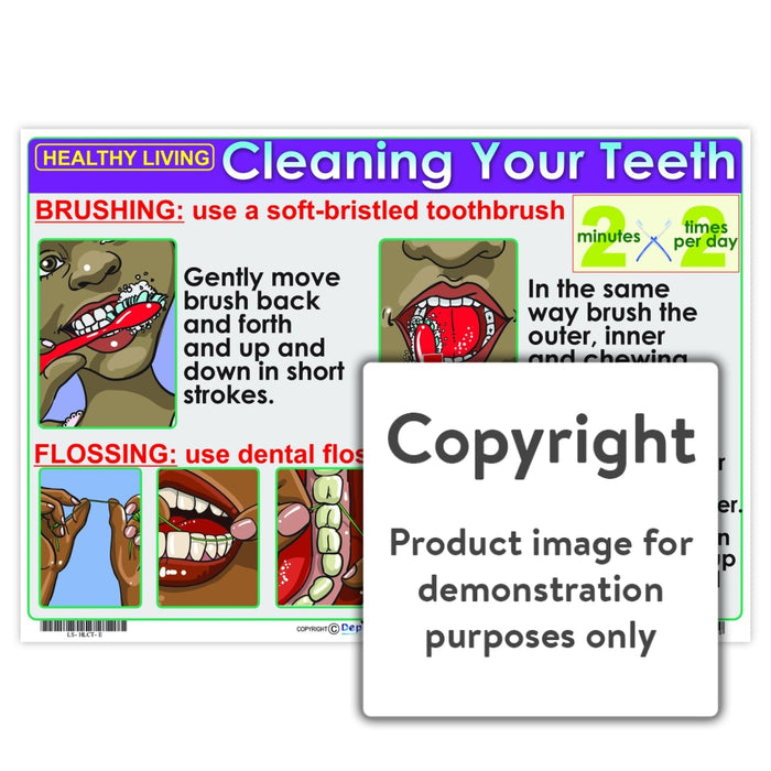 Healthy Living: Cleaning Your Teeth Wall Charts And Posters