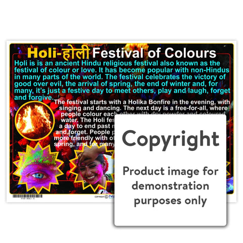 Holi - Festival Of Colours Wall Charts And Posters