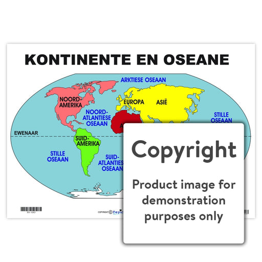 Kontinente En Oseane Wall Charts And Posters