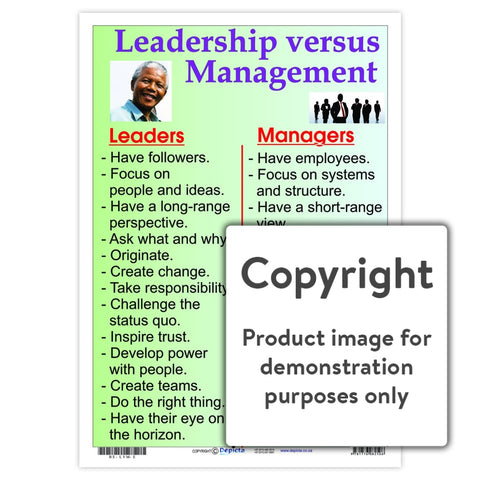 Leadership Versus Management Wall Charts And Posters