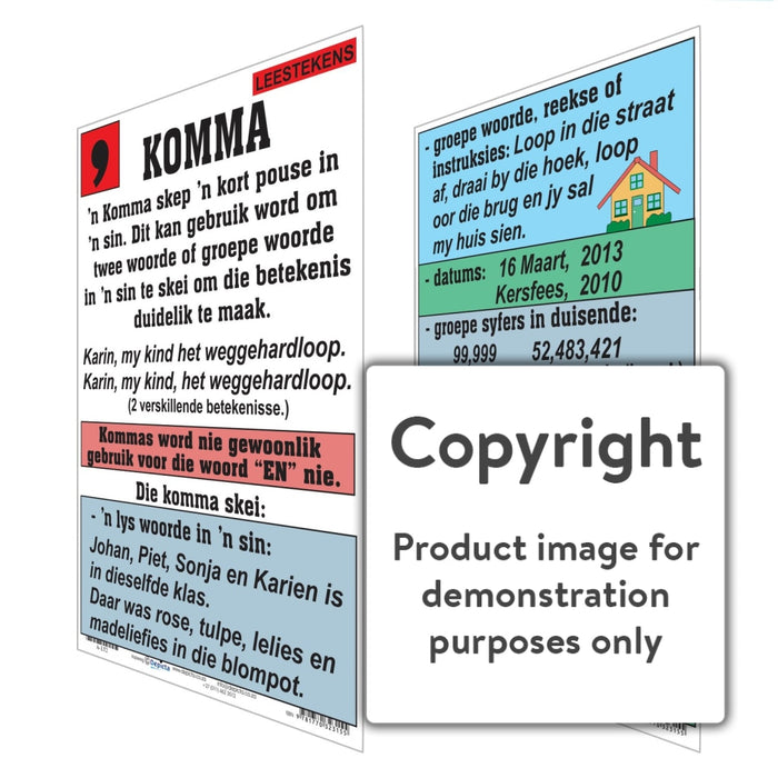 Leestekens: Komma Wall Charts And Posters