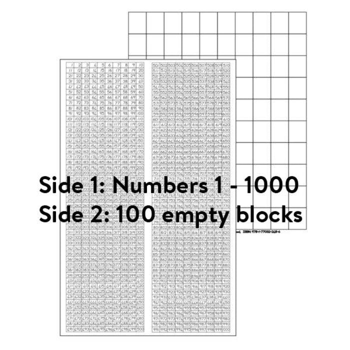 Number Chart: 1 - 1000 And 100 Blocks Wall Charts Posters