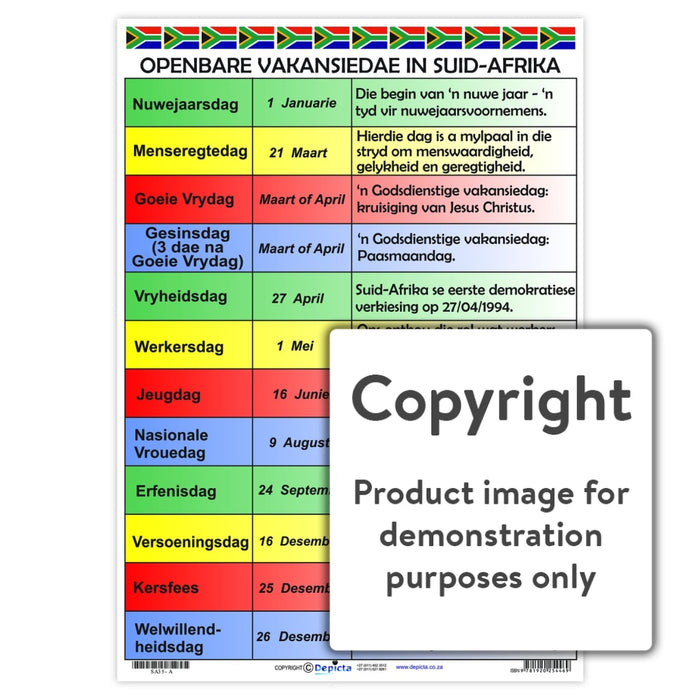 Openbare Vakansiedae In Suid Afrika Wall Charts And Posters