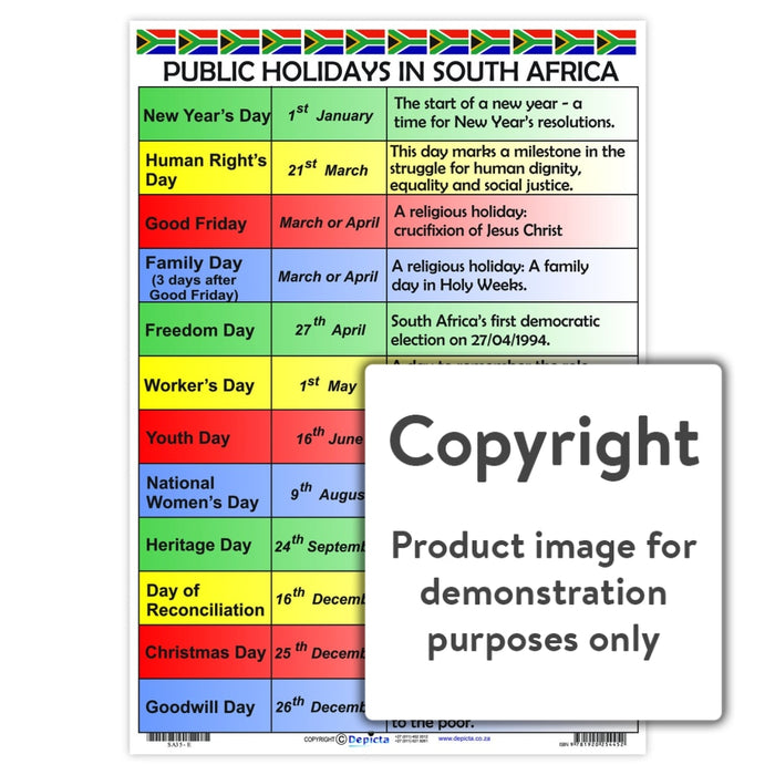 Public Holidays In South Africa Wall Charts And Posters
