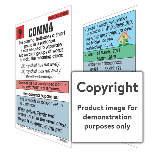 Punctuation: Comma Wall Charts And Posters