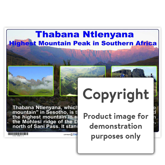 Thabana Ntlenyana - Highest Mountain Peak In Southern Africa Wall Charts And Posters