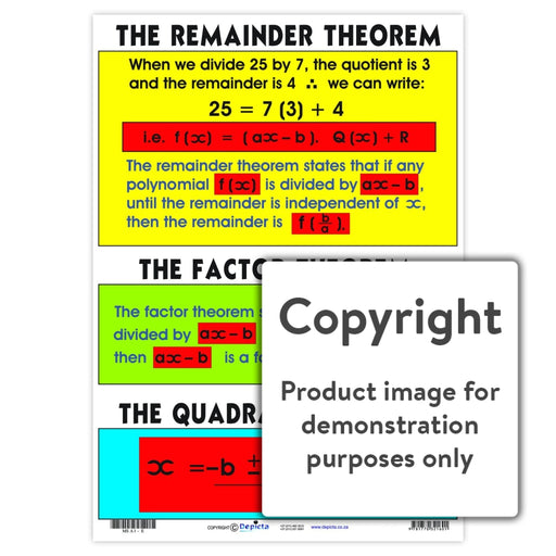 The Remainder Theorum Factor Quadratic Formula Wall Charts And Posters
