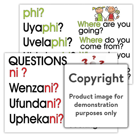 Zulu Questions - Ni And Phi (Zulu Language Chart) Wall Charts Posters