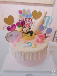 8 inch Monkey banana pink & number