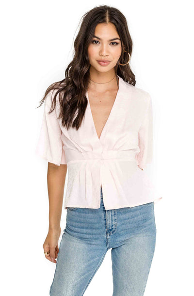 Pleated Front V Neck Top