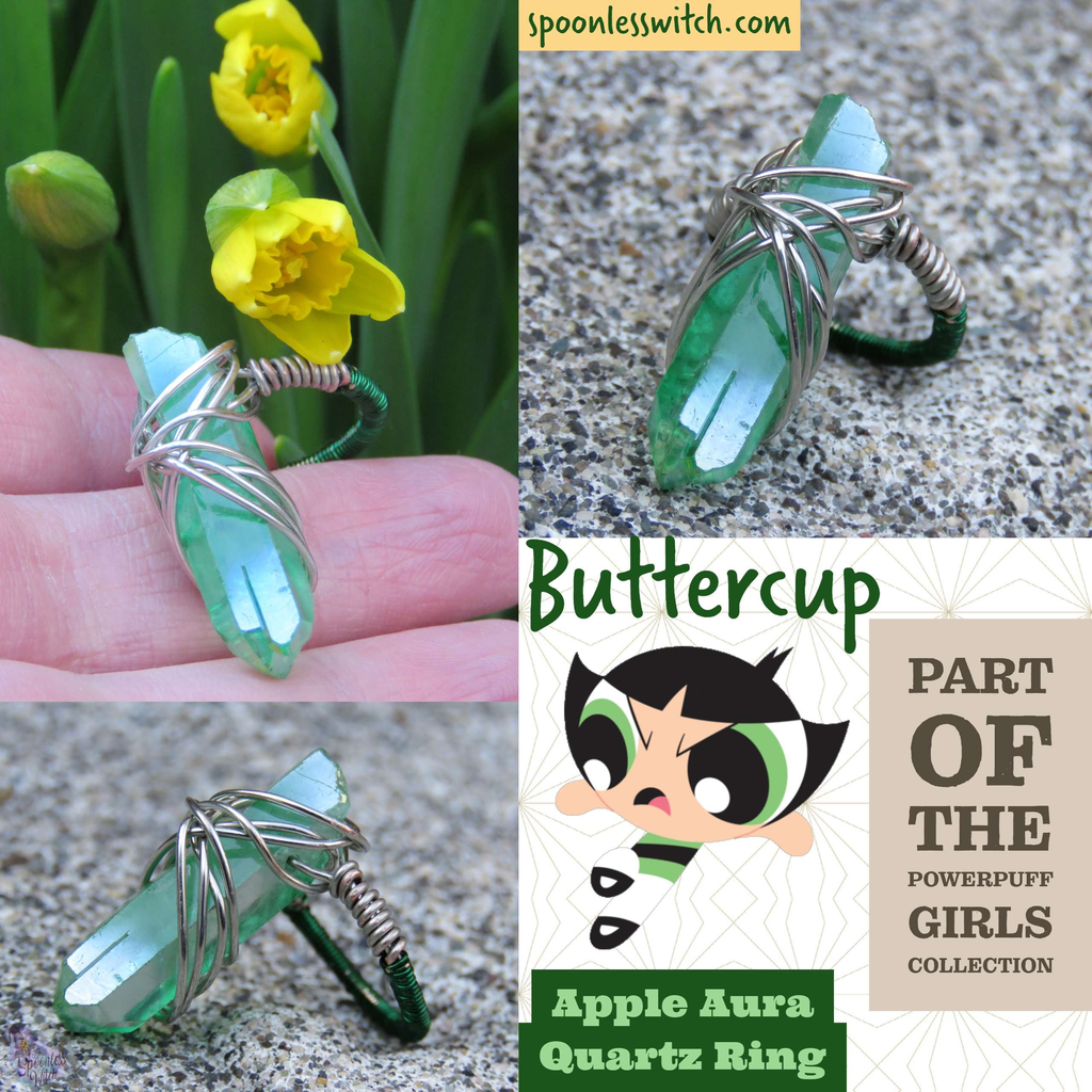Apple Aura Quartz Ring From The Spoonless Witch's Powerpuff Jewelry Collection, representing Buttercup