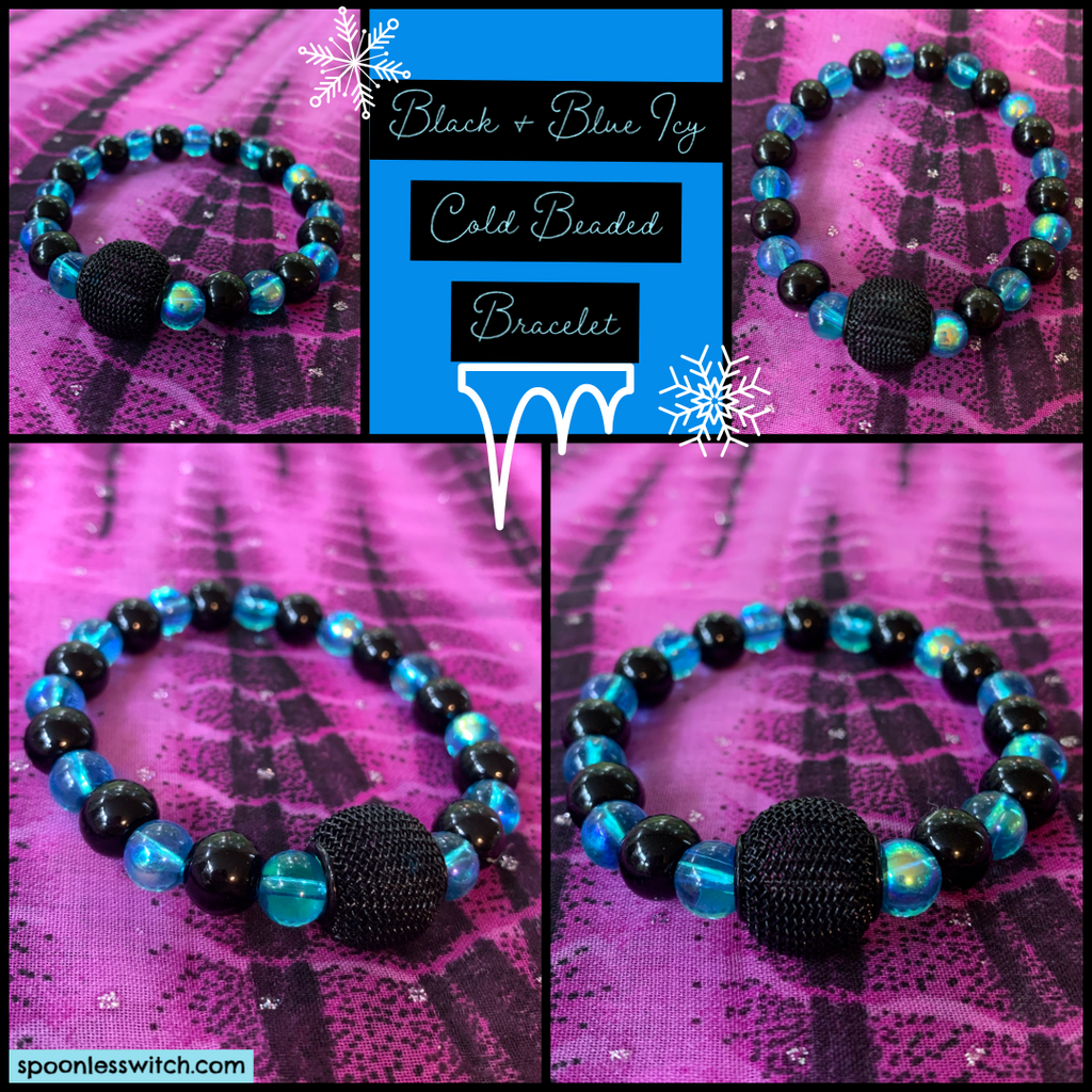 Black & Blue Icy Cold Beaded Bracelet - The Spoonless Witch
