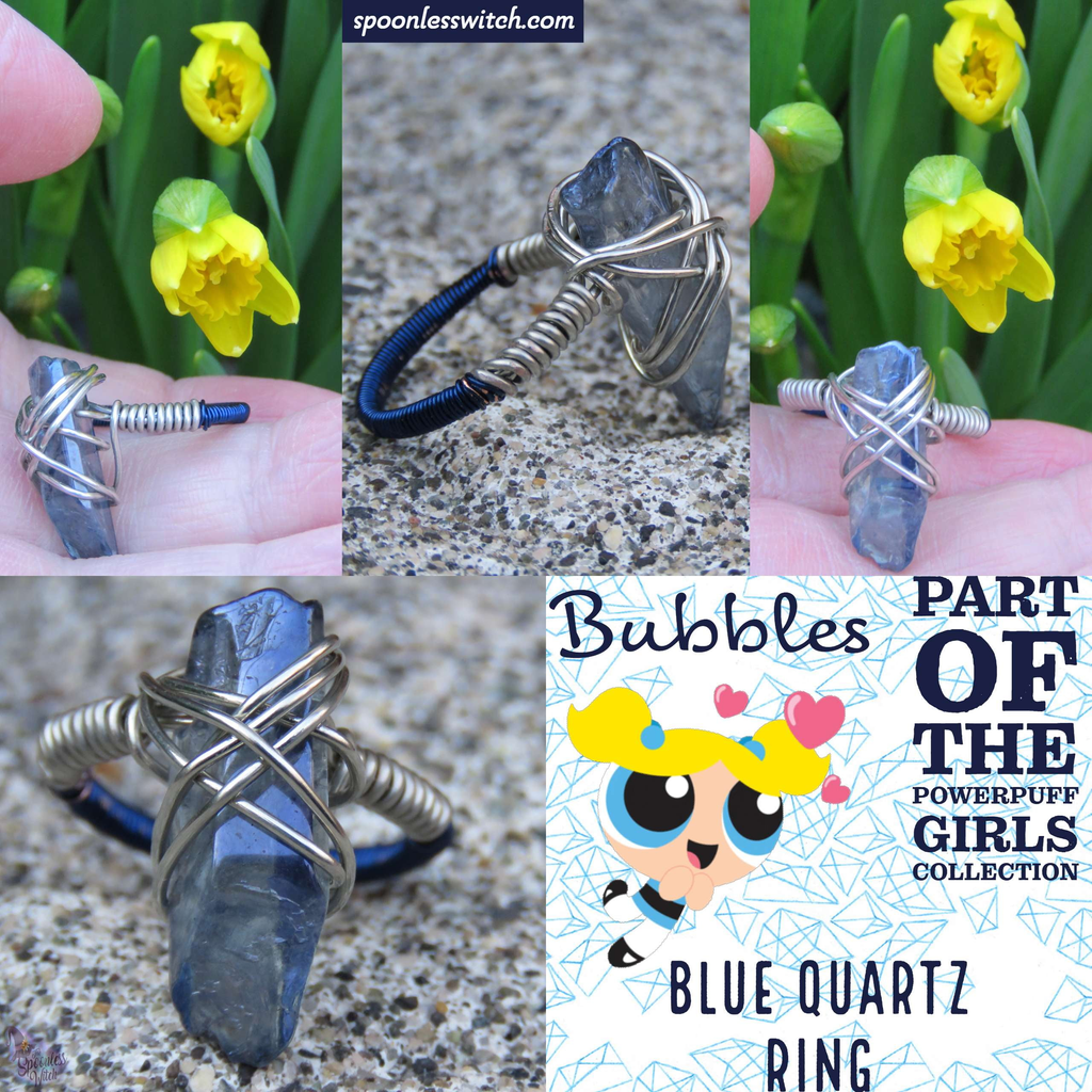Blue Quartz Ring from The Spoonless Witch's Powerpuff Girl Collection, representing Bubbles