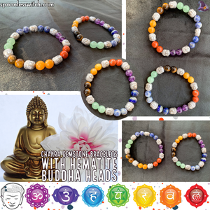 Chakra Gemstone Bracelets with Hematite Buddha Heads