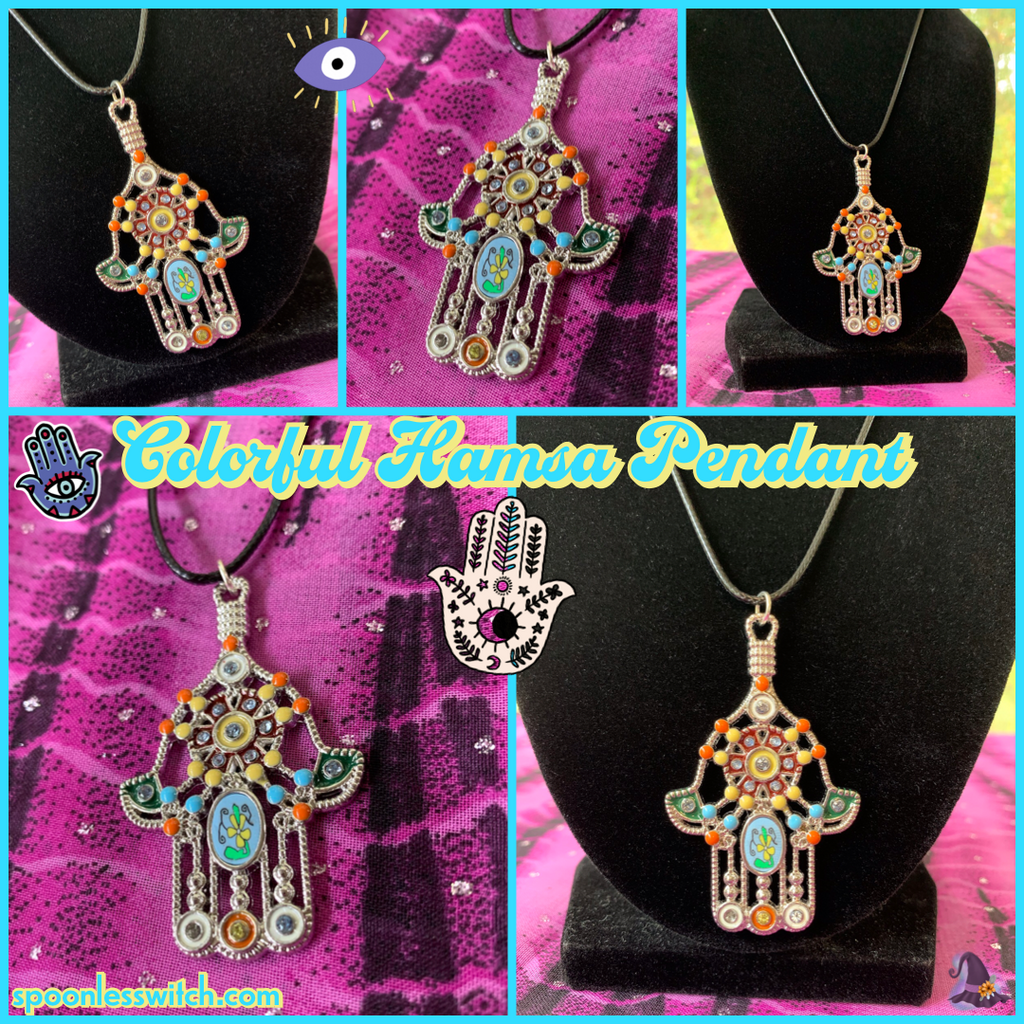 Colorful Hamsa Pendant - The Spoonless Witch