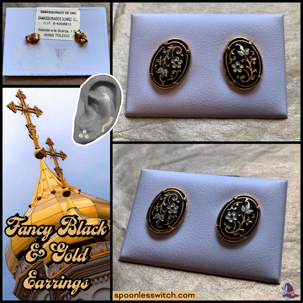 Fancy Black & Gold Earrings