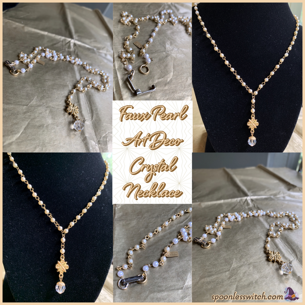Faux Pearl Art Deco Crystal Necklace