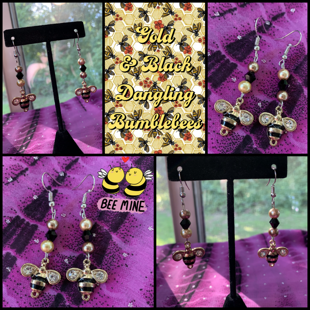 Gold & Black Dangling Bumblebees