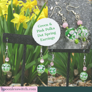 Green & Pink Polka Dot Spring Earrings - The Spoonless Witch