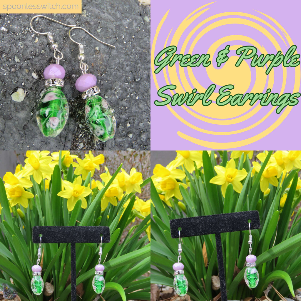 Green & Purple Swirl Hypoallergenic Stainless Steel Earrings at The Spoonless Witch