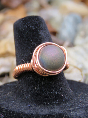 Druzy Copper Ring Size 7 3/4 - The Spoonless Witch