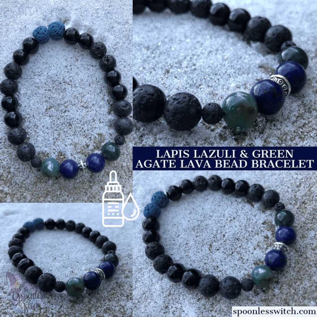 Green Agate & Lapis Lazuli Lava Bead Bracelet at The Spoonless Witch